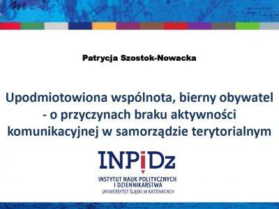 Patrycja Szostok-Nowacka, Instytut Nauk Politycznych i Dziennikarstwa, Uniwersytet Śląski